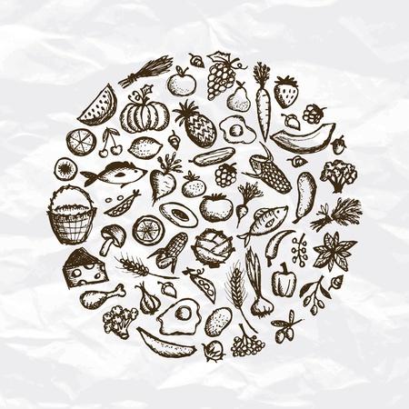 Zdrowe jedzenie tło, szkic do projektowania