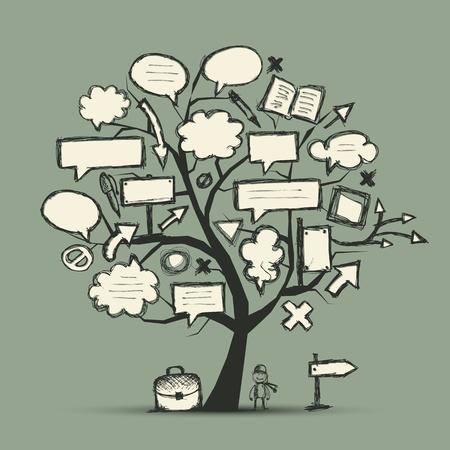 nubes caricatura: Bosquejo del árbol con las flechas y los marcos para el diseño de su