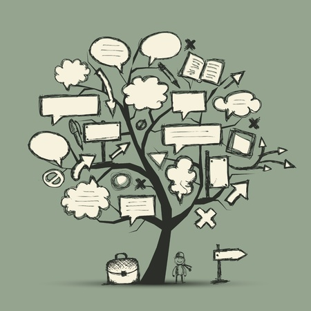 bag cartoon: Sketch of tree with arrows and frames for your design