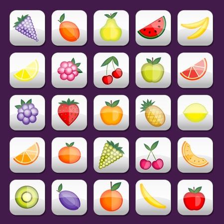 Buttons mit Früchten für Ihren Entwurf eingestellt