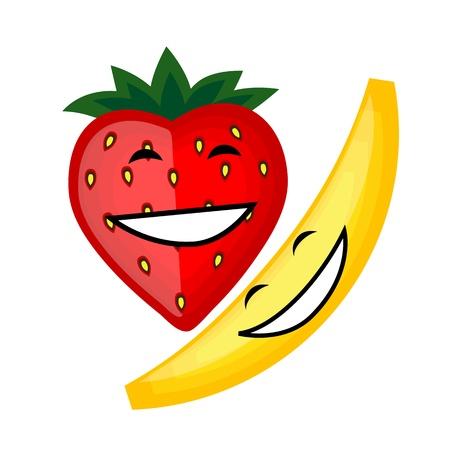 banana leaf: Funny fruits smiling together for your design