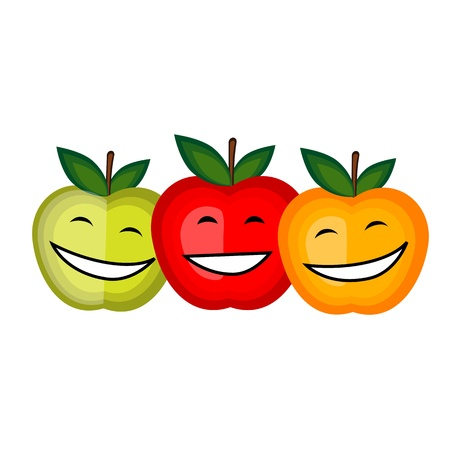 yellow apple: Funny fruits smiling together for your design