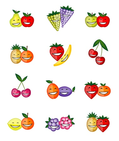 Funny fruits smiling together for your design Stock Vector - 12758793