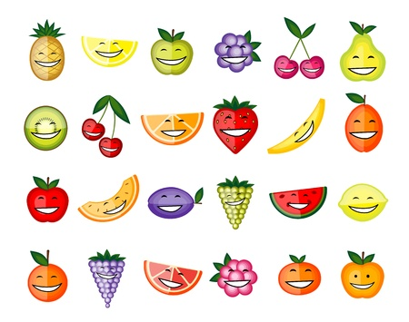 Funny fruit characters smiling for your design Vector