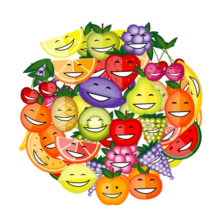 Funny fruit characters smiling together for your design Stock Vector - 12758891