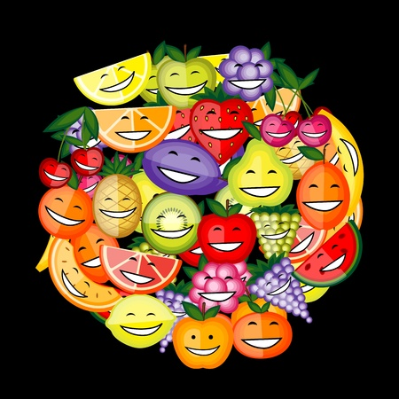 apple juice: Funny fruit characters smiling together for your design