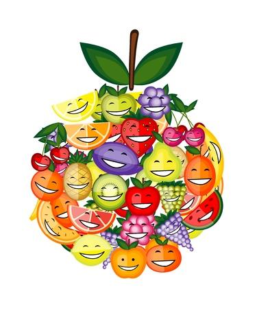 Divertidos personajes de frutas sonriendo juntos, en forma de manzana para su dise�o