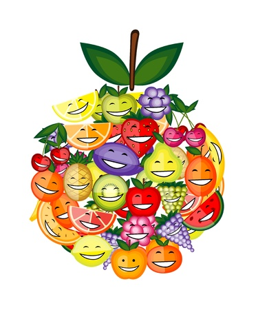 Funny fruit characters smiling together, apple shape for your design Vector