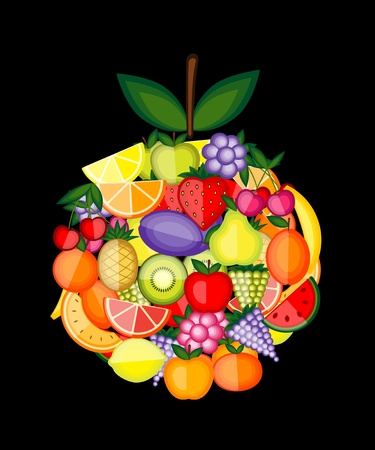 Apple shape made from fruits for your design Stock Vector - 12758871