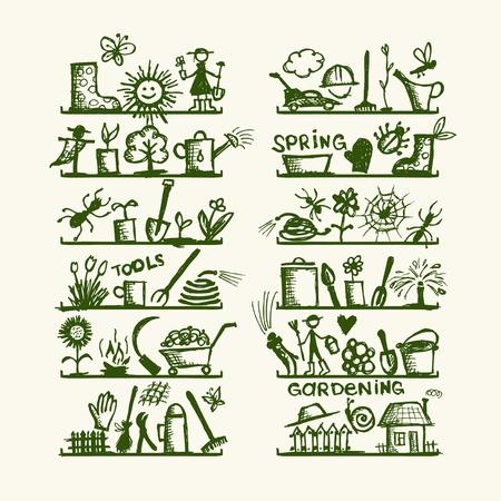 Las herramientas de jardinería en los estantes, boceto de su diseño