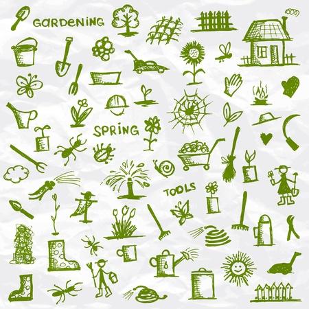 Primavera. Las herramientas de jardinería boceto de su diseño