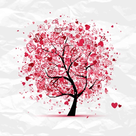 joy of life: Valentine tree with hearts for your design Illustration