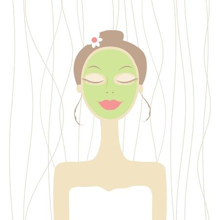 Mooie vrouw met cosmetische masker op het gezicht Vector Illustratie