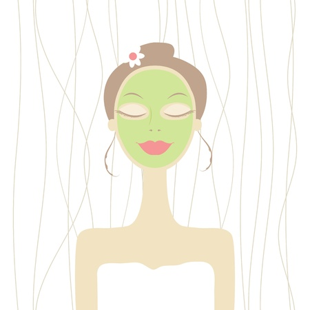 Pretty woman with cosmetic mask on face Stock Vector - 12758697