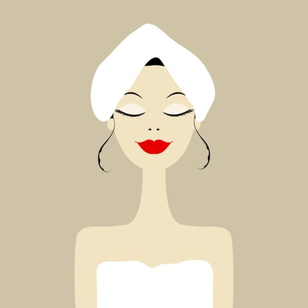 hand towel: Pretty woman in spa salon Illustration