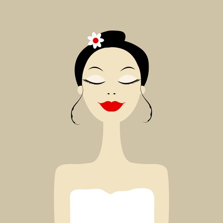 woman face cream: Pretty woman in spa salon Illustration