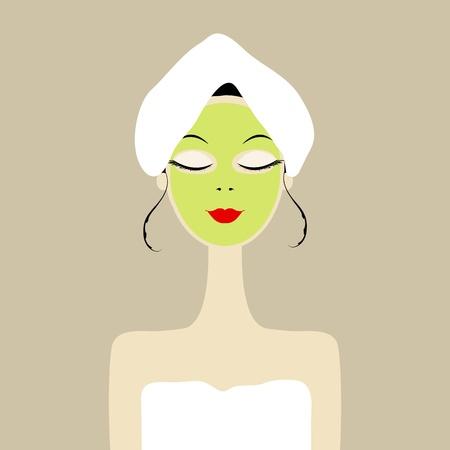Jolie femme avec un masque sur le visage de cosmétiques