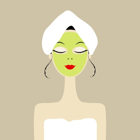 Pretty woman with cosmetic mask on face Stock Vector - 12758686