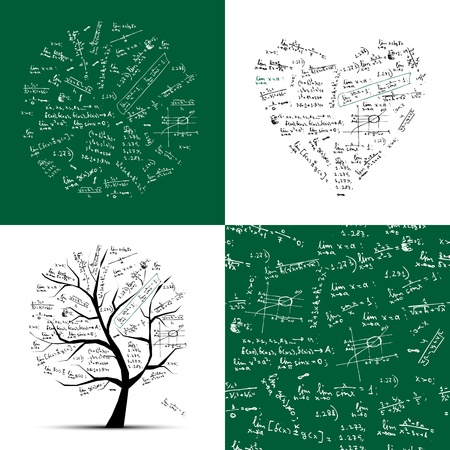 cartoon math: Math collection: frame, tree, seamless background