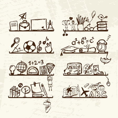 Objects for school on shelves, sketch drawing for your design  Stock Vector - 12758902