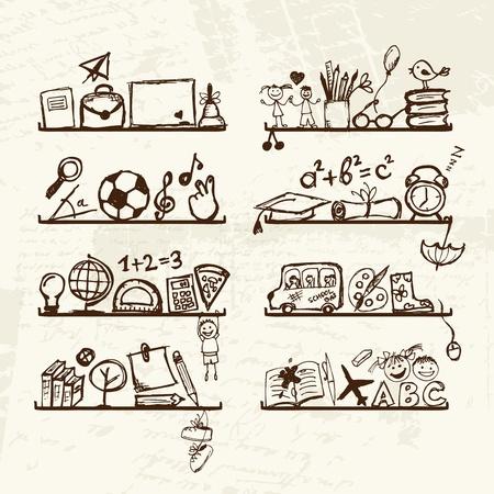sujeto: Objetos para la escuela en los anaqueles, dibujo boceto de su dise�o Vectores