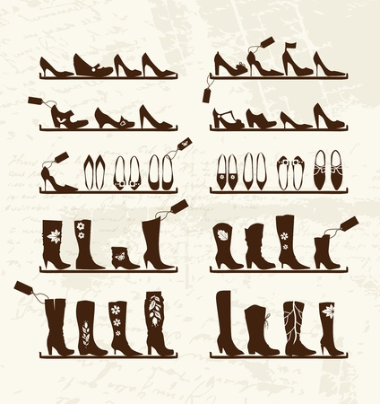 Shoes shop, boots on shelves, sketch for your design Vector