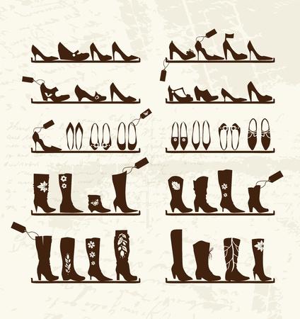 beautiful cinderella: Shoes shop, boots on shelves, sketch for your design Illustration