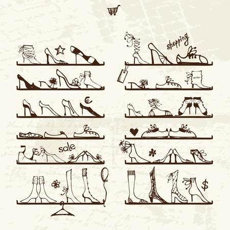 stilettos: Shoes shop, boots on shelves, sketch for your design Illustration