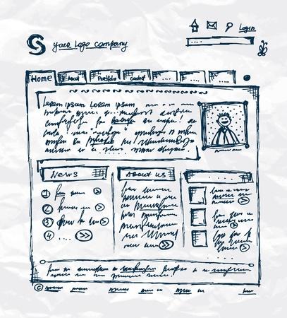 手に紙のシート上のウェブサイトのテンプレートを描画