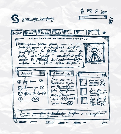 web page elements: Hand drawing template of website on paper sheet