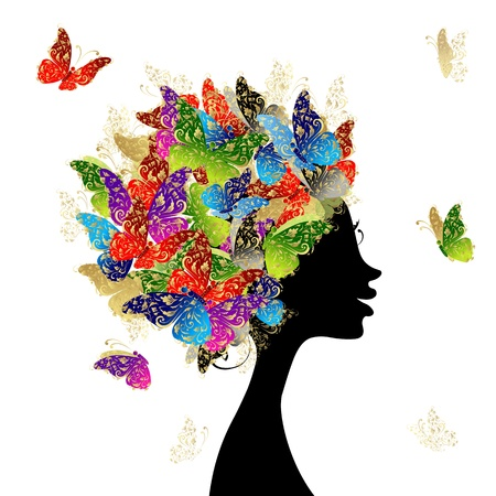 Female head with hairstyle made from butterflies for your design Illusztráció