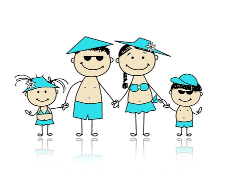 young boy beach: Summer holidays  Happy family for your design