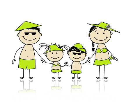 enfant maillot de bain: Vacances d'été de la famille heureuse pour la conception de votre Illustration