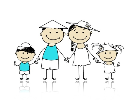 Zomervakantie Happy family voor uw ontwerp