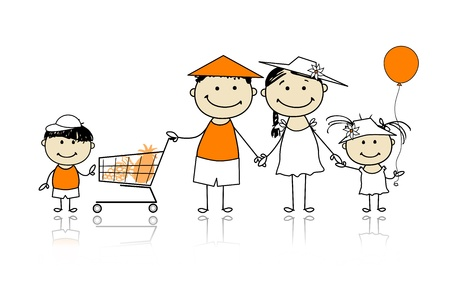 Summer holidays  Happy family with shopping basket for your design Vector