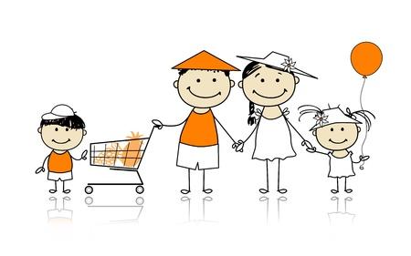 hand cart: Vacaciones de verano de la familia feliz con la cesta de la compra para su dise�o