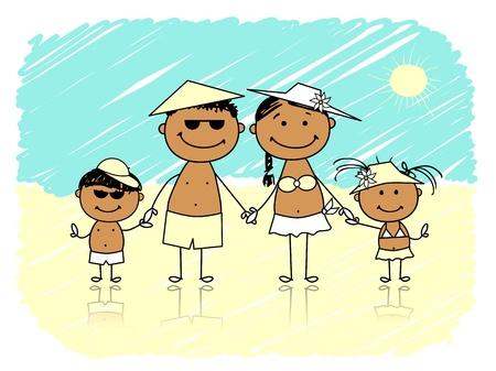 young boy beach: Summer holidays  Happy family on the beach