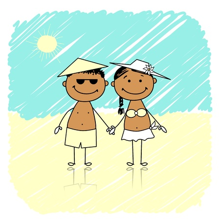 Summer holidays  Happy couple on the beach Vector