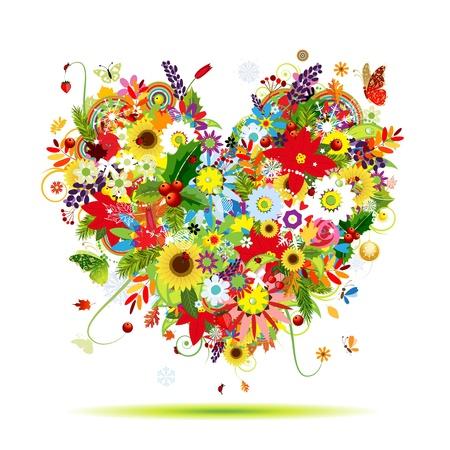 Quatre saisons de forme coeur artistique pour la conception de votre Vecteurs