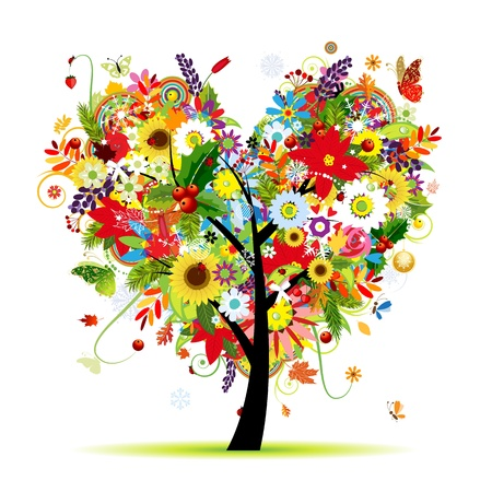 Four seasons. Art tree heart shape for your design Vector