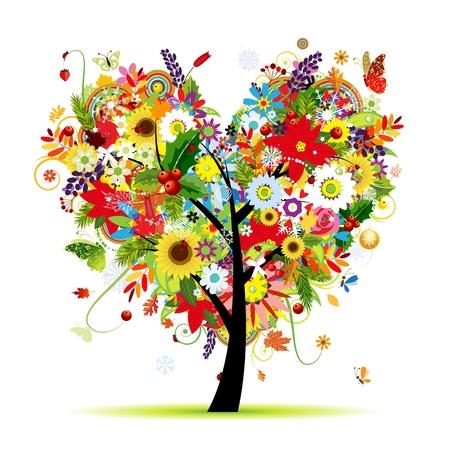 Vier Jahreszeiten. Kunst Baum Herzform für Ihr Design