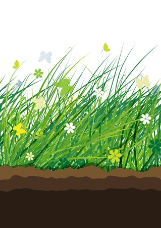 Green meadow, seamless pattern for your design Vector