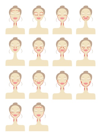 Massage Linien auf Frau Gesicht Vektorgrafik