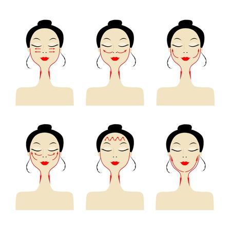 masajes faciales: Líneas de masaje en el rostro de la mujer Vectores