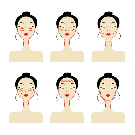 Massage lijnen op vrouw gezicht Vector Illustratie