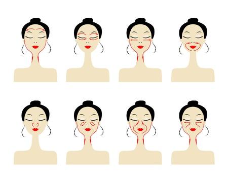 Líneas de masaje en el rostro de la mujer