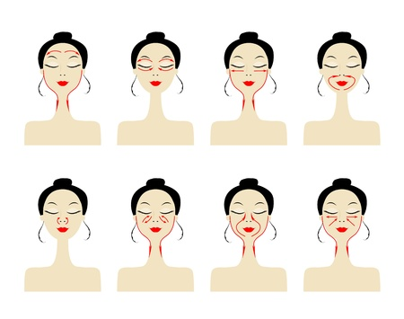 natural face: Massage lines on woman face