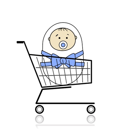 Baby in basket Stock Vector - 12840552