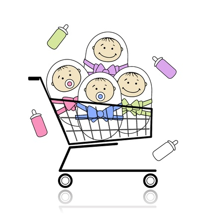 kid shopping: Children in basket