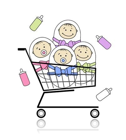 new born baby boy: Children in basket